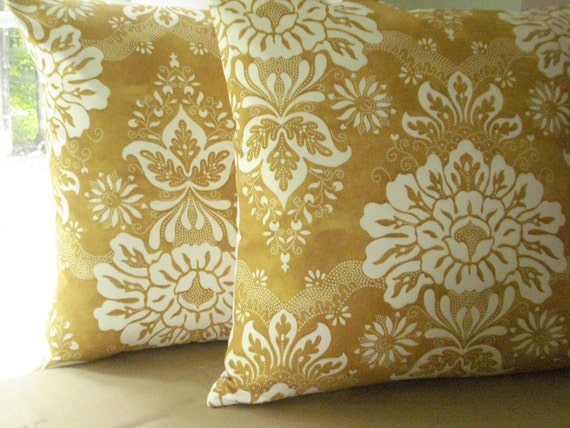 New..PAIR OF ..DECORATIVE DESIGNER PILLOW COVERS........ Americana by Kaufman...Sweet Caramel and Ivory ..stencil look floral design ....READY TO GO