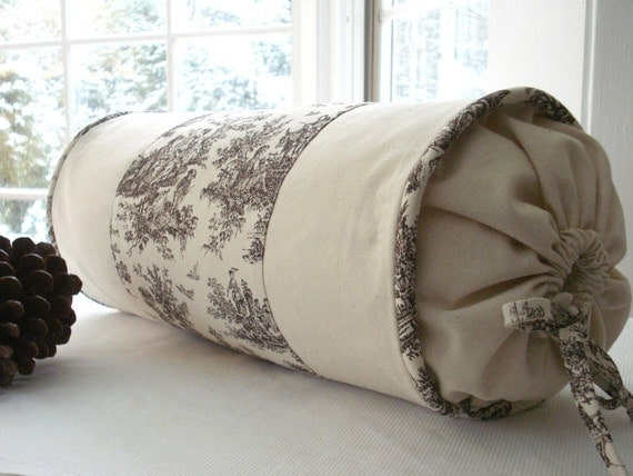 Items Similar To Decorative Designer Bolster Pillow Cover Choclolate Cream Toile On