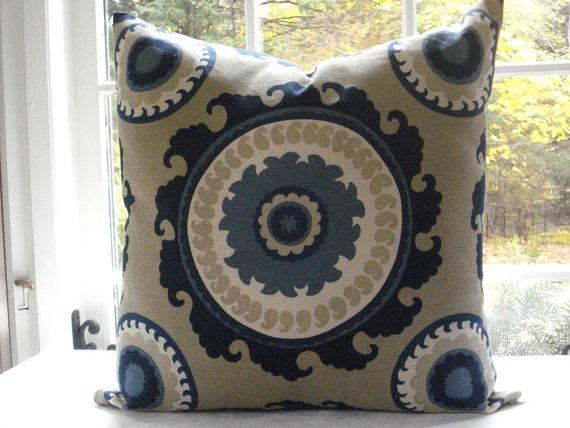 Decorative Designer Cover--Suzani--DURALEE--Ponderosa--Indigo Blue- Cream -Taupe-Throw / Lumbar