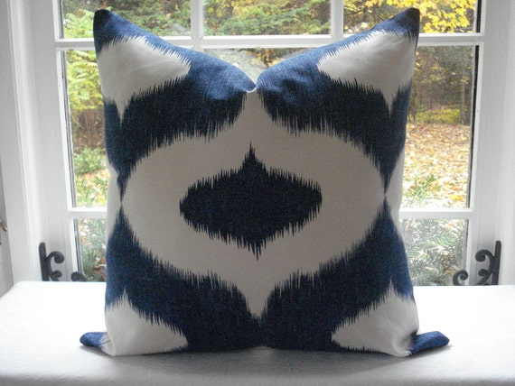 Decorative Designer Pillow  Cover--Ikat-- 20x20--Throw Pillow--Accent Pillow -Indigo Blue and Ivory--Sofa Pillow - Bed Pillow