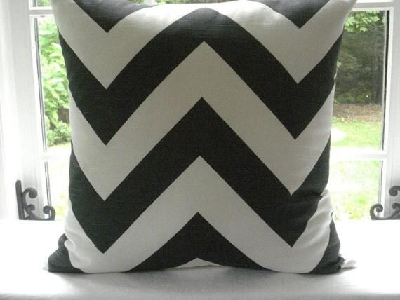 CHARCOAL / WHITE--  Decorative Pillow Cover- Designer Fabric- - Throw Pillow- Cotton-- Zig Zag- Geometric-
