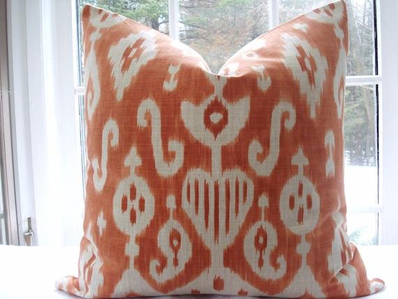 LAST ONE--20X20'S--Designer Decorative Pillow Cover -- Ikat----Orange Throw Pillow-Accent Pillow --Orange -Tangerine -Ivory
