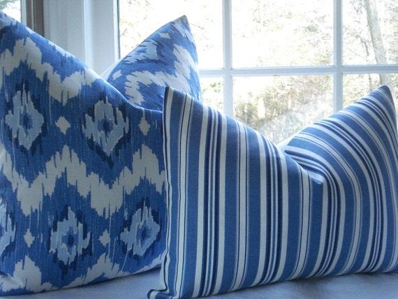 NEW--Beautiful-- 14 x 20 Lumbar Decorative Pillow Cover--Designer Fabric -- -Blue Stripe-Throw Pillow---Marine Blue-Indigo - White
