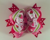 Large Stacked Boutique Bow - Strawberry Bow: The Caia Bow