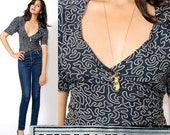 On HOLD Norma KAMALI Blouse WRAP top graphic Chain Print s