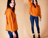 CAMEL batwing SILK BLOUSE top shirt Slouchy chic