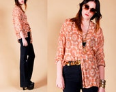Calvin Klein BUTTON DOWN blouse top SHIRT ethnic Semi Sheer M