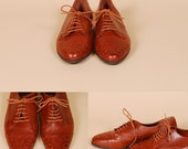 brown LEATHER OXFORDS flats Lace Up STITCHED menswear