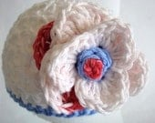 Baby Girls Hat 3 to 6 Months / Patriotic Flower Beanie / Red White and Blue Crochet Girls Beanie Hat / Photo Prop