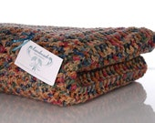 Multi Colored Brown Tan Blue Maroon and Green Crochet Afghan