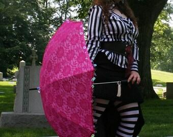 sale cheap as is Romantic Parasol Hot Pink Flower Second Line Mardi Gras Umbrella Circle Sequins Beads Bridal Sunshade Steampunk Lolita gift