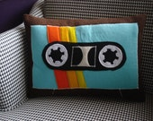blue and oranges cassette tape pillow