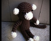 organic yarn - crocheted brown monkey toy