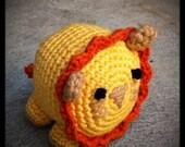 organic yarn - crocheted yellow lion toy