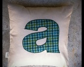 "monogram pillow ""a"""