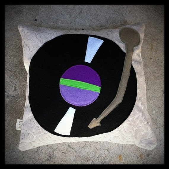 original turntable pillow - purple and green - case only