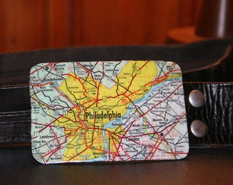 Philadelphia, PA Vintage Map Belt Buckle