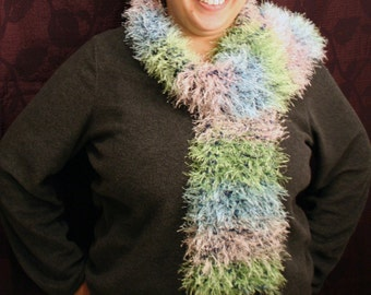 Blue, Green, and White Fun Fur Scarf
