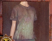 Dirty and Distressed Woman's Medium/ Men's Small Grungy and Green Wasteland T-Shirt OOAK