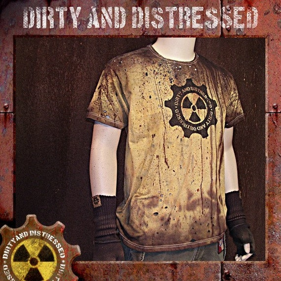 Dirty and Distressed Woman's Extra Large\/ Men's Large Radioactive Yellow Wasteland T-Shirt OOAK