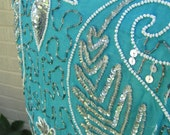 Vintage 80s Silk Lined Turquoise Blue Silver Sequined Top Blouse Skirt Set