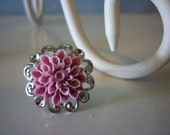 Pink Flower on Silver Filigree Ring