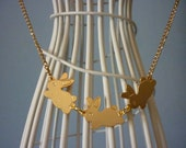 Gold Bunny Trio Necklace