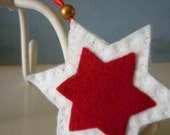 Christmas Holiday Red and White Star Decoration Ornament