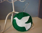 White Dove Green Background Holiday Ornament Decoration