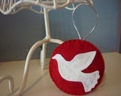 White Dove Red Background Christmas Holiday Decoration