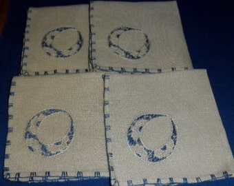 set of 4 hand embroidered linen napkins blue and natural