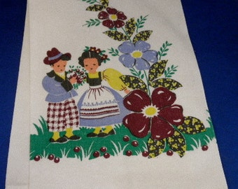 Vintage Kitchen dish towel white with maroon, blue, green, yellow