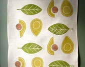 Avocado linen tea towel hand block printed modern home decor