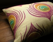 Orchid and Orange Peacock Feather Lumbar  Linen Pillow Case
