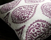 Deep Purple hand printed tree fern home decor decorative white linen pillow case