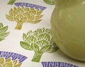 Artichoke Thistle hand block printed linen tea towel kitchen decor set of 3