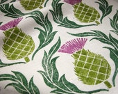 Scottish Thistle hand printed linen 1/2 yard