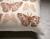 rustic brown butterflies hand printed linen pillow case
