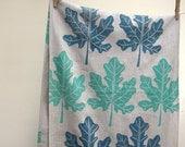 Hand printed Fig Leaf linen table runner