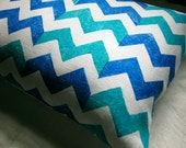 Blue and Turquoise Chevron hand printed your choice of size linen pillow case