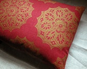 Red and metallic gold lace medallion hand block printed holiday colorful home decor your choice of sizes decorative pillow cover