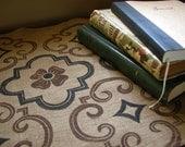 Tudor rose quatrefoil geometric linen table runner rustic medieval home decor black brown linen hand block printed
