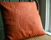 Tangerine paisley hand block printed colorful linen orange boho home decor decorative pillow case