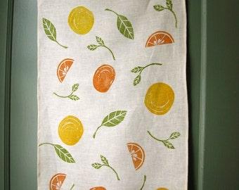 Oranges and Tangerines botanical hand block printed cream linen tea towel kitchen home decor hostess gift for gardener