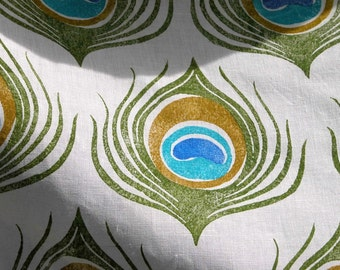 Peacock Feather turquoise olive green hand block printed white linen home decor fashion fabric yardage