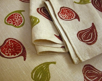 Fig Toss Linen Hand Printed Autumn Decor Tea Towels hostess gift for her set of 3