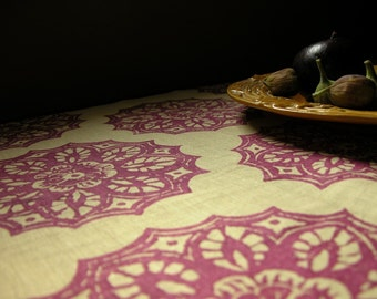 Mulberry wine lace medallion hand block printed chardonnay linen home decor table runner