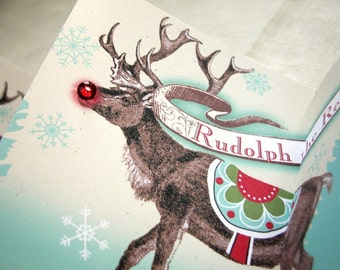 Santa's Reindeer Mantel Card Christmas Holiday Decor aquamarine and red