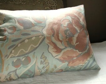 muted floral botanical vintage cotton pillow case your choice of sizes