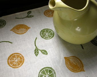 Lemon Lime citrus hand block printed botanical summer home decor white linen table runner